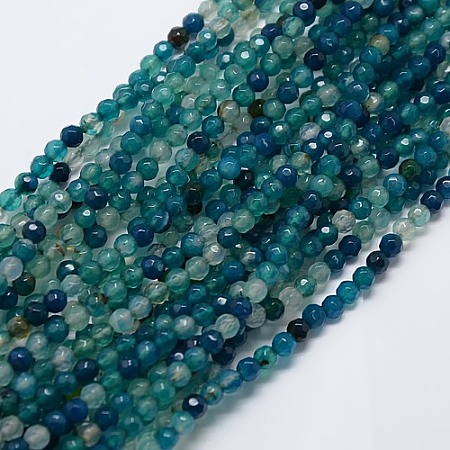 Arricraft Natural Agate Round Beads Strand, Dyed, Faceted, Teal, 4mm, Hole: 1mm; about 95pcs/strand, 14.96