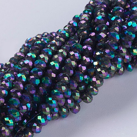 ARRICRAFT Electroplate Glass Beads Strands, Full Plated, Faceted, Rondelle, Colorful, 3x2mm, Hole: 0.8~1mm, about 185~190pcs/strand, 15.5~16 inches(39.3~40.6cm)