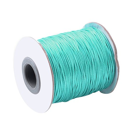 NBEADS 1 Roll 100 Yards 2mm Light Sea Green Beading Cords and Threads Crafting Cord Korean Waxed Polyester Thread for Jewelry Making Bracelet