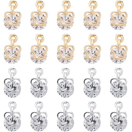 Pandahall Elite 100pcs 2 Style Cubic Zirconia Charm Pendants, Butterfly Shaped Crystal Alloy Choker Pendants for DIY Necklace Jewelry Making, Light Gold and Platinum