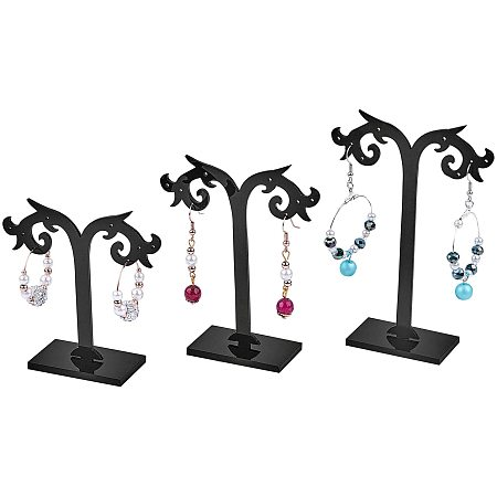 Earring Display Stand, Jewelry Display Rack, Jewelry Tree Stand, Black, 80~120x80mm, 3stands/set