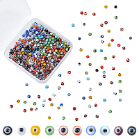 Olycraft Handmade Evil Eye Lampwork Round Beads, Mixed Color, 4mm, Hole: 1mm, 10 colors, 50pcs/color, 500pcs/box