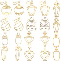 SUNNYCLUE Zinc Alloy Open Back Bezel Pendants, For DIY UV Resin, Epoxy Resin, Pressed Flower Jewelry, Perfume Bottle, Golden, 38~52x21.5~33x2~3mm; 20pcs/box