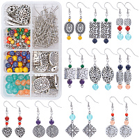 SUNNYCLUE DIY Earring Making Kits, include Tibetan Style Alloy Beads and Brass Earring Hooks, Iron Flat Head Pins, Gemstone & Glass Beads, Antique Silver & Platinum