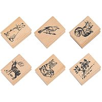NBEADS 6 Pcs Animal Pattern Wooden Stamps, Rectangle Animal Pattern Printed Ink Stamps Decorative Rubber Stamp Set for DIY Craft, Letters Diary and Craft Scrapbooking, Burly Wood