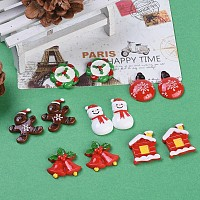 Arricraft Christmas Theme Resin Cabochons, Christmas Balloon, Gingerbread Man, Snowman, Christmas Cabin, Christmas Bell, Christmas Wreath, Mixed Color, 12pcs/set