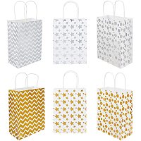 NBEADS 12 Pcs Kraft Paper Party Favor Bags, Mixed Color Rectangle Kraft Paper Bags with Handle for Birthday Gift Wedding and Party Celebrations