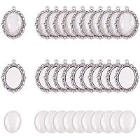PH PandaHall 60pcs Bezel Pendant Blanks Settings - 30pcs Oval Pendant Trays Bezel Blanks with 30pcs Glass Cabochons Clear Dome for Photo Jewelry Making, Antique Silver, 25x18mm
