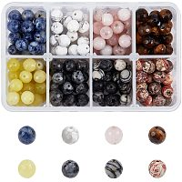 NBEADS 200 Pcs Natural Gemstone Beads, 8 Styles Faceted Round Beads Smooth Stone Beads Loose Spacer Beads for Bracelet Necklace Earrings Jewelry Making, Hole: 1mm