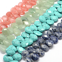 """NBEADS Faceted Drop Natural & Synthetic Mixed Stone Bead Strands, 18x13x6mm, Hole: 1.5mm; about 29pcs/strand, 7.8"""""""