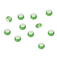 NBEADS 100 Pcs Green Color Crystal Glass Charms, Faceted Lampwork Beads Large Hole European Charms Beads fit Bracelet Jewelry Making