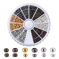 ARRICRAFT Brass Crimp Beads, Mixed Color, 2~2.5x1.2mm, Hole: 1.2mm, about 2640pcs/box