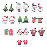 ARRICRAFT Painted Acrylic Cabochons, for Christmas Day, Gift Box & Bear with Hat & Penguin with Scarf & Bell & Santa Claus & Snowman & Christmas Tree, Mixed Color, 30.5x22x3.5mm, 20pcs/set
