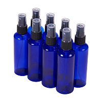 BENECREAT 8 Pack 3.4 Ounce (100ml) Cobalt Blue Plastic Spray Bottle with Fine Mist Sprayers Atomizer Caps for DIY Home Cleaning, Aromatherapy & Beauty Care