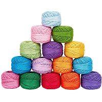 PandaHall 15 Rolls15 Colors Crochet Thread, Cotton Yarn Threads Balls Pearl Cotton Crochet Yarn for Hand Embroidery