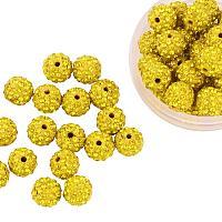 ARRICRAFT 100 Pcs 10mm Citrine Shamballa Pave Disco Ball Clay Beads, Polymer Clay Rhinestone Beads Round Charms Jewelry Makings