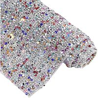 """BENECREAT 15.7x9.4"""" Glitter Hotfix Rhinestone Diamond Sheet with Resin Beads Mesh Banding Beaded Applique for Trimming Cloth Bags and Christmas Decoration, Colorful"""
