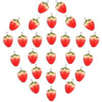 PandaHall Elite 24pcs Strawberry Charms Imitation Food Fruit Simulation Model Berrie Pendants Resin Charms Beads 3D Strawberry Hanging Ornament for Earring Bracelet Necklace Craft Supplies