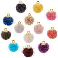 PandaHall Elite 130pcs 13 Colors Pompoms Earrings Fabric Fur Metallic Pompoms Charms DIY Fluffy Ball Charms for Dangle Tassel Earrings Charm Pendant Jewelry Making