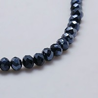 """Electroplate Glass Bead Strands, Full Plated, Faceted, Rondelle, Hematite Plated, 6x4mm, Hole: 1mm; about 90~95pcs/strand, 18.5"""""""