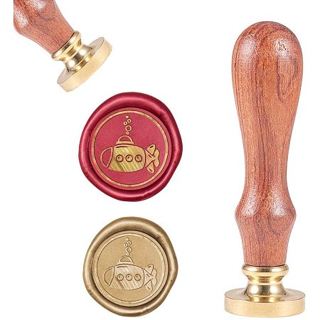 CRASPIRE Submarine Wax Seal Stamp, Vintage Wax Sealing Stamps Retro Wood Stamp Removable Brass Head 25mm Wood Handle for Wedding Envelopes Invitations Embellishment Bottle Decoration Gift Card Packing