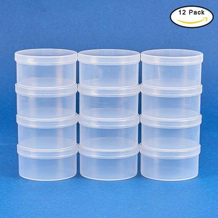 BENECREAT 12 Pack Round Clear Plastic Bead Storage Containers Box Case with Flip-Up Lids for Items, Pills, Herbs, Tiny Bead, Jewerlry Findings, and Other Small Items - 2x1 Inches