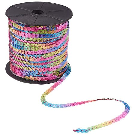 Arricraft Glitter Paillettes Sequins Roll, 6mm Flat Sequin Trim Sequin String Ribbon Roll for Crafts, DIY Projects, Embellishments, Costume Accessories, 100 Yards