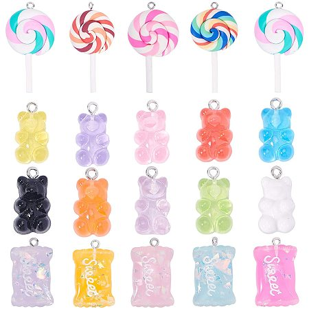 NBEADS 74 Pcs 3 Styles Resin Charms and Polymer Clay Pendants, Bear Pendants Candy Pendants and Lollipop Charms for DIY Jewelry Crafts Making