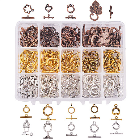 PandaHall Elite 112 Sets 14 Style Tibetan Style Alloy Toggle T-Bar Clasps Findings Jewelry Making, Antique Bronze & Silver & Golden(Star, Heart, Leaf, Lock)