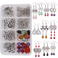 SUNNYCLUE DIY Earring Set, with Trinity Knot Links, Tibetan Style Alloy Triquetra Pendants and Glass Beads, Irish, Mixed Color, 11x7x3cm