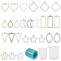 PandaHall Elite Resin Jewelry Making Kit, 50 pcs 9 Shapes Open Frame Bezels Hollow Frame Pendants, 50ml 100ml Measuring Cups Seamless with Tape for DIY Resin Crafts Charms Necklaces Earrings