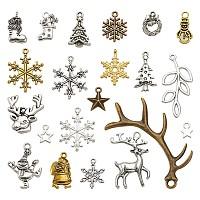 ARRICRAFT Christmas Theme, Tibetan Style Pendants, Mixed Shapes, Mixed Color, 18x11x2.5mm, Hole: 2.5mm