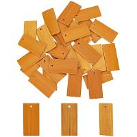 Pandahall Elite 30pcs Unfinished Bamboo Gift Tags Rectangle Natural Bamboo Blank Slices Tag with Hole for DIY Crafts Painting Staining Hanging Decorations