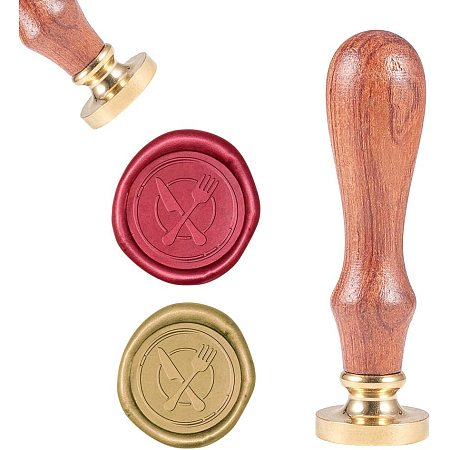 CRASPIRE Wax Seal Stamp, Vintage Wax Sealing Stamps Knives and Forks Retro Wood Stamp Removable Brass Head 25mm for Wedding Envelopes Invitations Embellishment Bottle Decoration