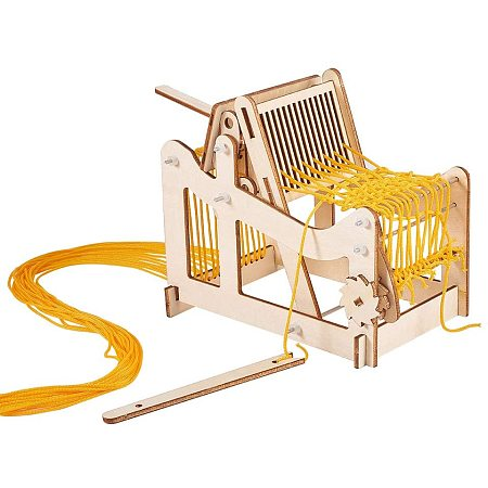 PandaHall Elite Multi-Craft Weaving Loom, DIY Hand-Knitting Weaving Machine Creativity Weaving Frame Loom with 16 Strands Yarns and Adjusting Rods for Beginner Students Adults 5.9x5.9x3.5