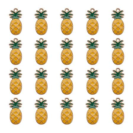 PandaHall Elite 1 Box (About 20pcs) Gold Alloy Enamel Fruit Pineapple Pendants Charms Finding Pendants Beads Charms for Jewelry Making and Crafting