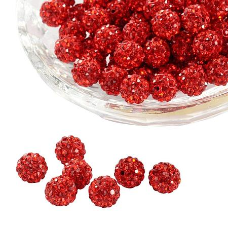 ARRICRAFT 100 Pcs 8mm Disco Ball Clay Beads Pave Rhinestones Spacer Round Beads fit Shamballa Bracelet and Necklace Red