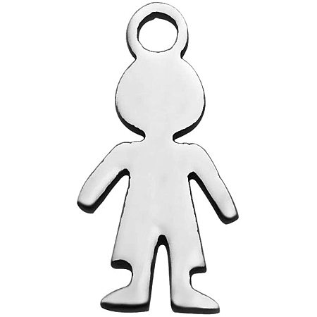 Pandahall Elite 10PCS Stainless Steel Pendants Human Silhouette Pendant Smooth Flat Metal Charm Pendants Accessory DIY for Jewelry Making and Crafting
