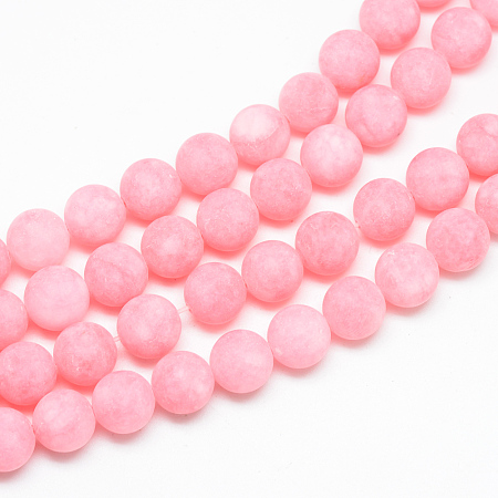 NBEADS Natural White Jade Bead Strands, Dyed, Frosted, Round, Pink, 8~9mm, Hole: 1mm; about 46~48pcs/strand, 14.9