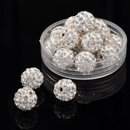 Pave Disco Ball Beads, Polymer Clay Rhinestone Beads, Round, 10mm, Hole: 1.5mm, Crystal, 10mm, Hole: 1.5mm; 100pcs/box