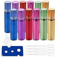 BENECREAT 12 Pack 10ml Mixed Glass Essential Oil Bottle Refillable Roll on Bottle with Stainless Steel Roller Ball (4 Droppers, 2 Funnels, 1 Opener) for Aromatherapy Fragrance Perfume