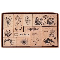 CRASPIRE Beech Wooden Stamp Sets, with Rubber, for Scrapbooking, Cuboid with Cube, BurlyWood, Packing Box: 14x8.5x3cm; 12pcs/set