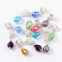 European Dangle Beads, with Alloy, Brass and Glass Findings, teardrop, Silver Color Plated, Mixed Color, Size: about 8mm wide, 29mm long, hole: 4.5mm