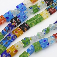 ARRICRAFT Handmade Millefiori Glass Beads Strands, Square, Mixed Color, 8mm wide, 8mm long, hole: 1mm, 50pcs/strand, 16 inches