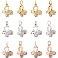 NBEADS 12 Pcs 3 Colors Butterfly Brass Zirconia Beads Micro Pave Cubic Zirconia Stones Butterfly Charm Beads for Jewelry Making