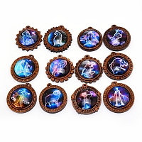 NBEADS Glass Pendants, with Wooden Cabochon Settings, Half Round with 12 Constellations Pattern, Mixed Color, 44x43x11mm, Hole: 3mm, 1pc/constellation, 12 constellation, 12pcs/set