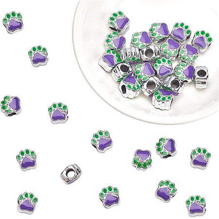 PandaHall Elite 30pcs Enamel Dog Paw Footprint Beads 11mm Puppy Paw Footprint Big Hole Metal Charm for European Bracelet Craft Supplies