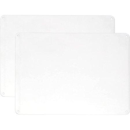 Globleland Aluminum Blank Sheets, White, 25x18x0.08cm, Hole: 4mm