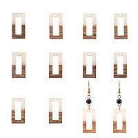 Olycraft Resin & Wood Pendants, Rectangle, Creamy White, 27x14.5x3.5mm, Hole: 1.5mm, 10pcs/box