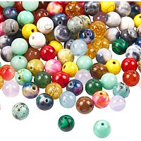 NBEADS 200 Pcs Mixed 8mm Gemstone Stone Beads Round Gemstone Loose Beads for Bracelet Necklace Earrings Jewelry Making